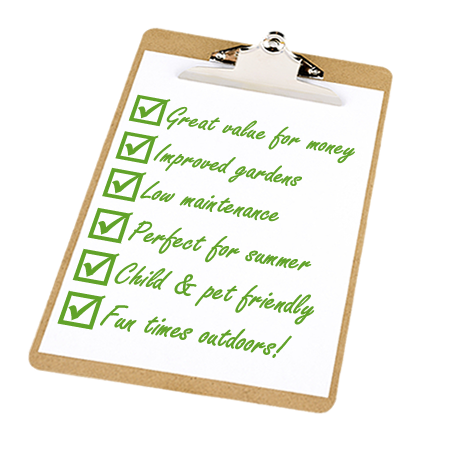 Clipboard with list of benefits of installing new grass and lawns